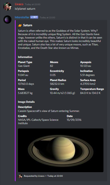 Viewing information about Saturn