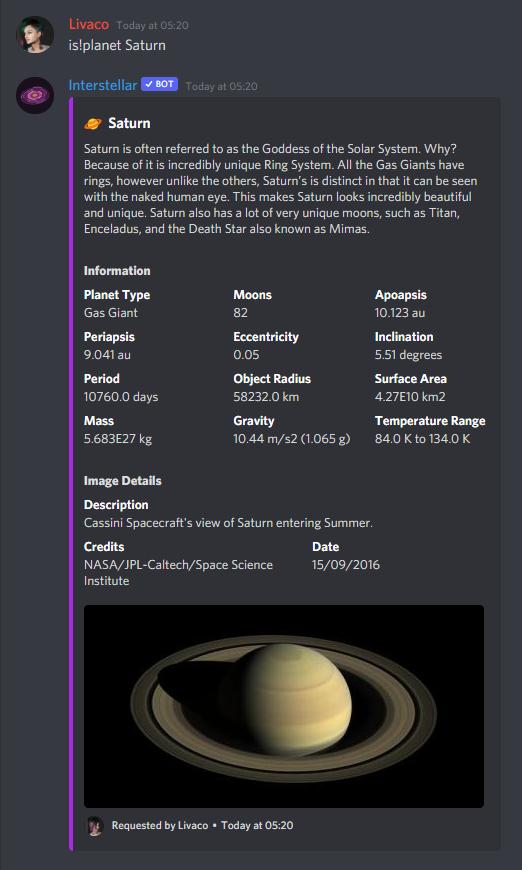 Interstellar talking about Saturn