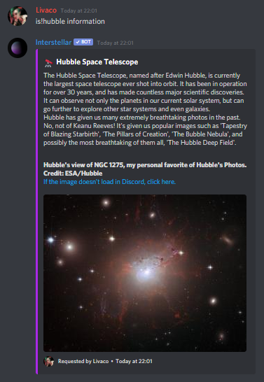 Some information about the Hubble Space Telescope