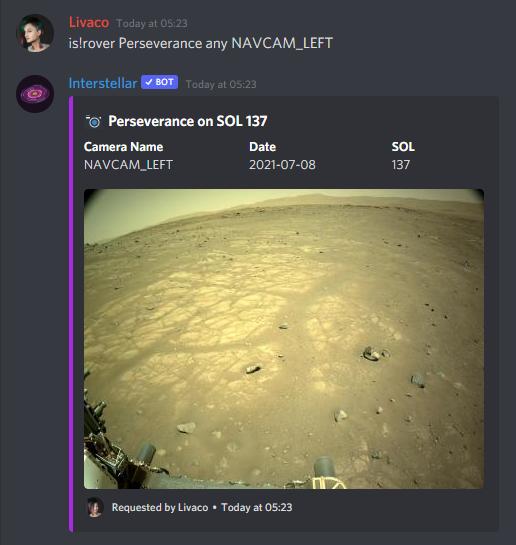 Interstellar showing an image taken by Perseverance